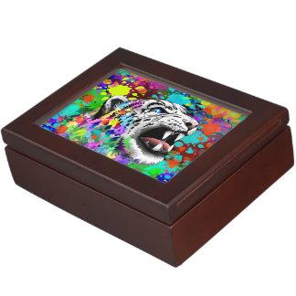 Leopard-psychedelische Farbe Splats Erinnerungsschachtel