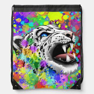 Leopard-psychedelische Farbe Splats Rucksäcke Turnbeutel