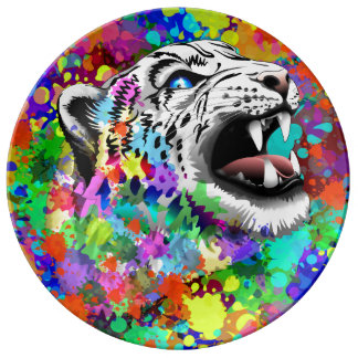 Leopard-psychedelischer Farbe Splats Teller Aus Porzellan