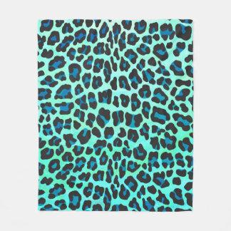 Leopard-schwarzer und aquamariner Druck Fleecedecke