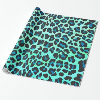 Leopard-schwarzer und aquamariner Druck Geschenkpapier