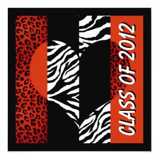 Leopard und Zebra drucken rotes Abschluss-Party Quadratische 13,3 Cm Einladungskarte