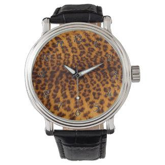 Leoparddruckschwarzes gepunktete armbanduhr
