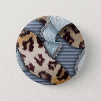 Leopard'n-Spitze - Blau - Runder Button 5,7 Cm
