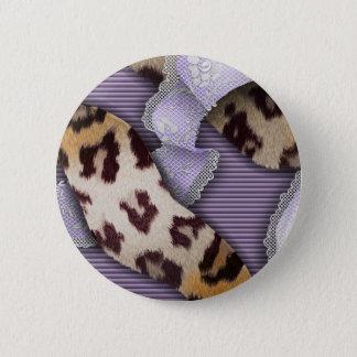Leopard'n-Spitze - lila - Runder Button 5,1 Cm