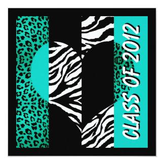 Leopardzebra-Druck-Türkis-Abschluss-Party Quadratische 13,3 Cm Einladungskarte
