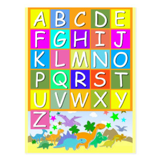 Lernen Sie Ihr ABC mit Dinosaurier-Alphabet Postkarte