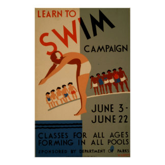 Lernen Sie, Kampagnen-Vintages Plakat zu schwimmen