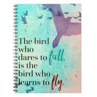 Lernen Sie, Zitat zu fliegen Notizblock