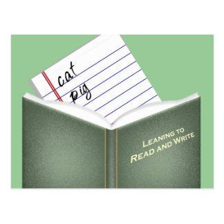 Lernen zu lesen und zu schreiben postkarte
