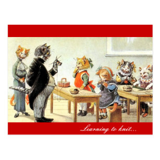 Lernen zum Strick Postkarte