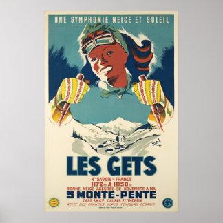 Les erhält, Savoie, Frankreich, Ski-Plakat Poster
