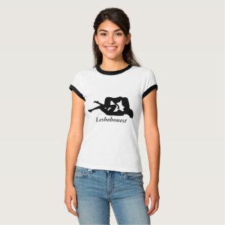 Lesbehonest lesbisches Interesse von verbogenen T-Shirt