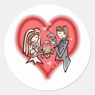 Lesbische Braut u. Bräutigam Runde Sticker