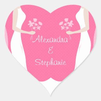 Lesbische Bräute personalisiert Herz Sticker