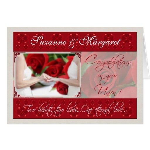 Lesbische Hochzeits-Glückwunsch-personalisierte Ka Grußkarten