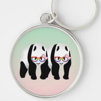 Lesbische Stolz-Pandas, die Regenbogen-Gläser Schlüsselanhänger
