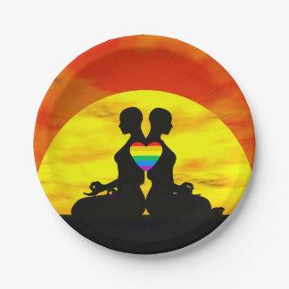 Lesbische Yoga-Liebe - 3D übertragen Pappteller 17,8 Cm