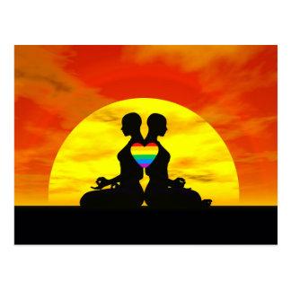 Lesbische Yoga-Liebe - 3D übertragen Postkarte