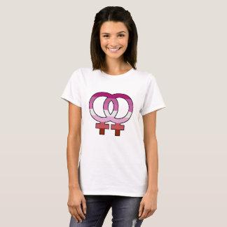 Lesbischer Stolz-Flaggen-Venus-Symbol-T - Shirt