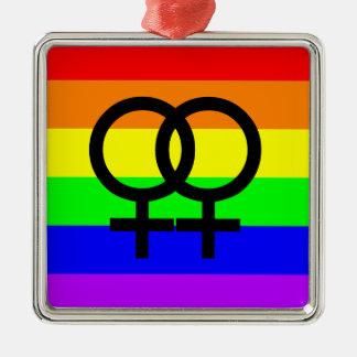 Lesbischer Stolz Quadratisches Silberfarbenes Ornament