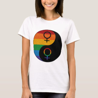 Lesbischer Stolz Yin und Yang T-Shirt