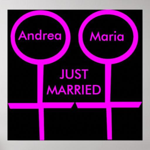 Lesbisches Liebhaber-gerade verheiratetes kundenge Plakat
