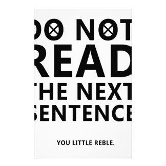 Lesen Sie nicht den folgenden Satz Sie wenig Reble Briefpapier