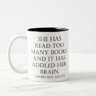 lesen Sie zu viele Bücher Zweifarbige Tasse