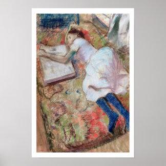 Leser Edgar Degass |, der sich, c.1889 hinlegt Poster
