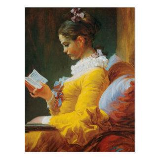 Lesung gekleidet im Gelb Postkarte