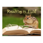 Lesung ist Spaß! Chipmunk-Postkarte Postkarte