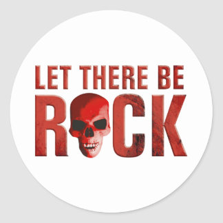 let there be rock skull red runder aufkleber