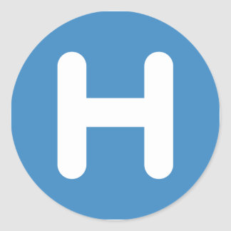 Letter H Emoji Twitter Runder Aufkleber