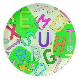Letters colorful flacher teller