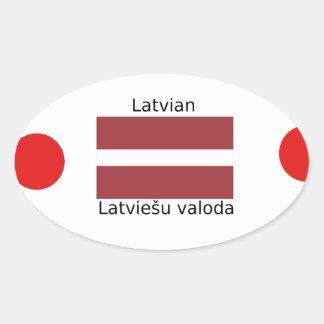 Lettische Sprache und Lettland-Flaggen-Entwurf Ovaler Aufkleber