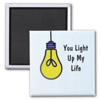 Leuchten Sie meinem Leben-Birnen-Entwurf Quadratischer Magnet
