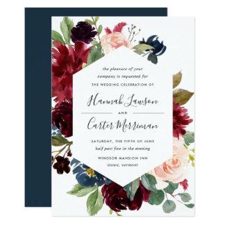 Leuchtende Blüten-Rahmen-Hochzeits-Einladung Karte