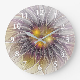 Leuchtende bunte Blume, abstraktes modernes Große Wanduhr