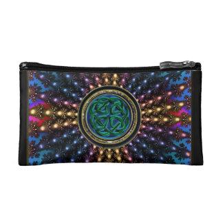 Leuchtende keltische Knoten-Mandala Sun Makeup-Tasche
