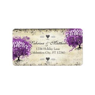 Leuchtende lila Herz-Blatt-Baum-Hochzeit Adressaufkleber