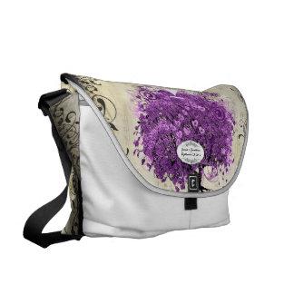Leuchtende lila Herz-Blatt-Baum-Hochzeit Kurier Taschen