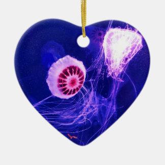 Leuchtende Neonquallen Keramik Herz-Ornament