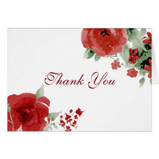 Leuchtende rote Watercolor-Rose danken Ihnen Karte