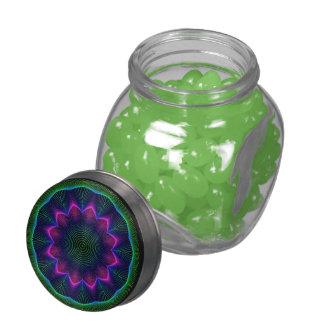Leuchtender BlumenMandala, abstraktes rosa Grün Glasbehälter