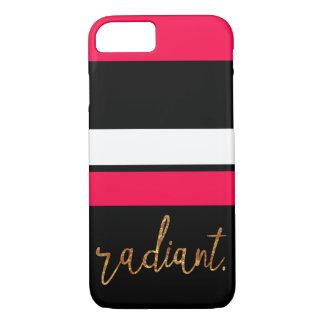 leuchtender rosa und schwarzer gestreifter Kasten iPhone 8/7 Hülle