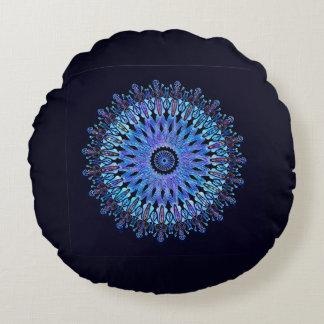 Leuchtendes blaues Mosaik-Kaleidoskop Rundes Kissen