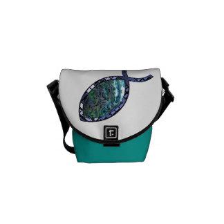 Leuchtendes christliches Fisch-Symbol Kurier Tasche