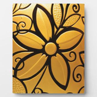Leuchtendes goldenes gelbes Blumenmuster Fotoplatte