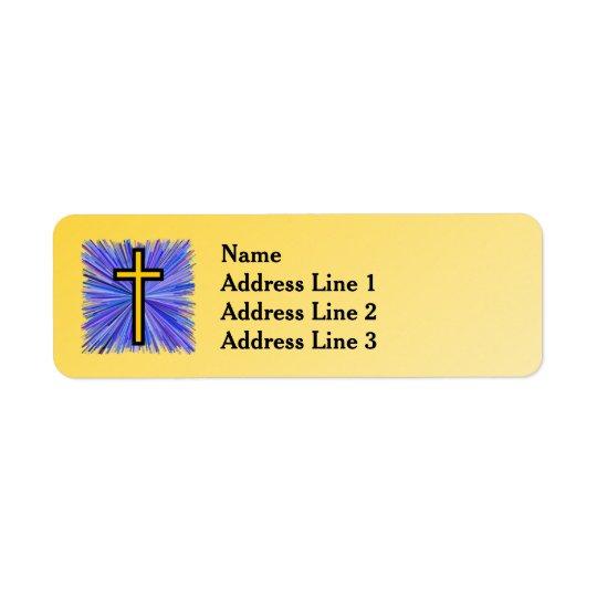 Leuchtendes Kreuz auf gelbem Steigungs-Hintergrund Kleiner Adressaufkleber